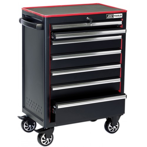 "7 Drawer 26"" Roller Cabinet - Black"